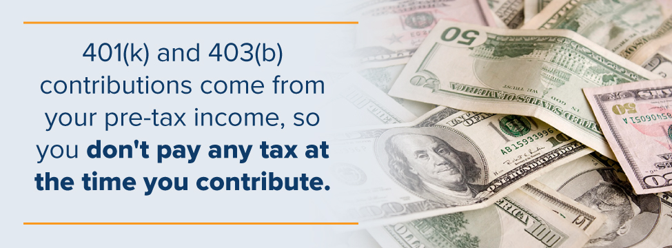 You don't pay tax when contributing to 401 (k) or 403(b)
