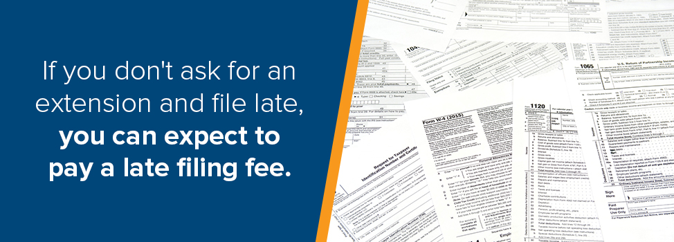 If you don't ask for an extensions and file late, you can expect to pay a late filing fee.